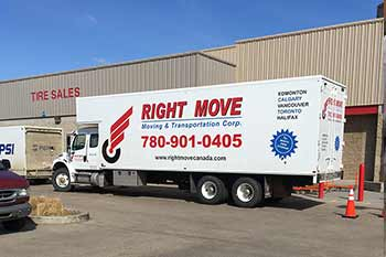 Moving truck during commercial delivery
